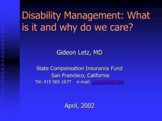 disability management: what is it and why do we care