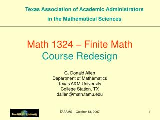 Math 1324   Finite Math Course Redesign