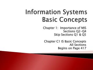 Information Systems  Basic Concepts