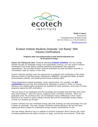 Ecotech Institute Students Graduate