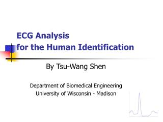 ECG Analysis  for the Human Identification