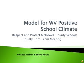 Model for WV Positive School Climate