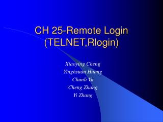 CH 25-Remote Login TELNET,Rlogin