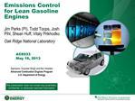 Emissions Control for Lean Gasoline Engines