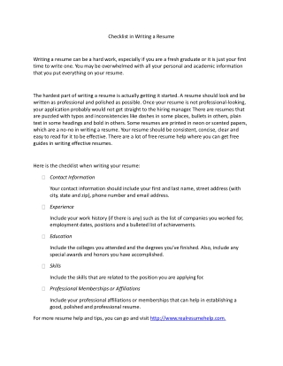 Checklist in Writing a Resume
