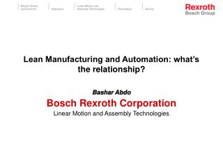 Lean Manufacturing and Automation: what s the relationship