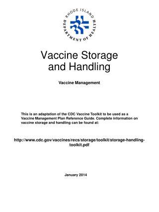 Vaccine Storage  and Handling