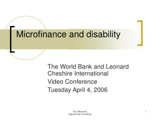 Microfinance and disability