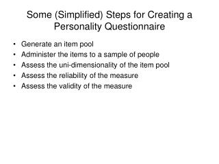 Some Simplified Steps for Creating a Personality Questionnaire