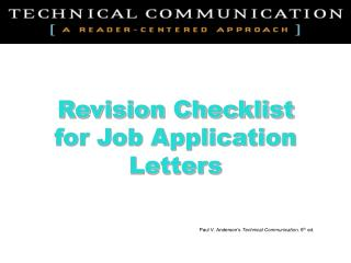 Revision Checklist for Job Application Letters