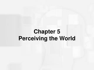 Chapter 5 Perceiving the World