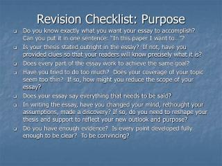 Revision Checklist: Purpose
