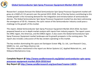Semiconductor Spin Spray Processor Equipment Market 2018 For