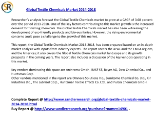 Global Textile Chemicals Market 2018 Forecast