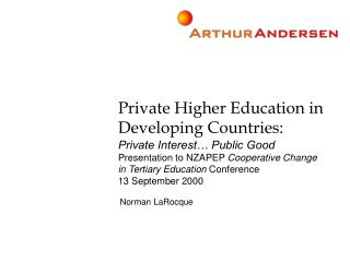 Private Higher Education in Developing Countries: