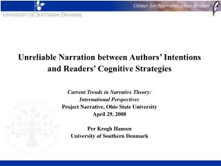 Unreliable Narration between Authors  Intentions  and Readers  Cognitive Strategies   Current Trends in Narrative Theory