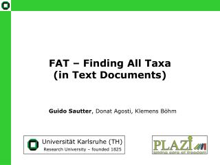 FAT   Finding All Taxa in Text Documents