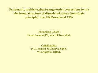 Systematic, multisite,short-range-order corrections to the electronic structure of disordered alloys from first-principl