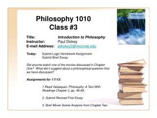 Philosophy 1010 Class 3