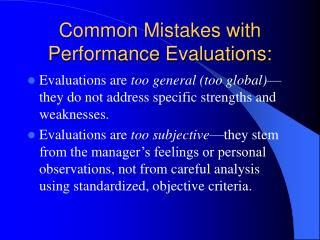 Common Mistakes with Performance Evaluations:
