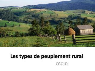 Les types de peuplement rural