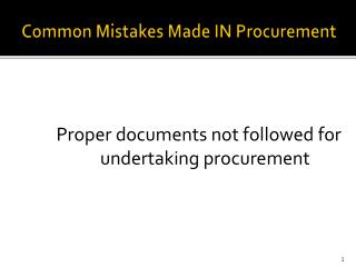 Common Mistakes Made IN Procurement