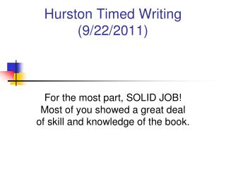 Hurston Timed Writing 9