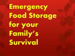 Emergency Food Storage for your Family