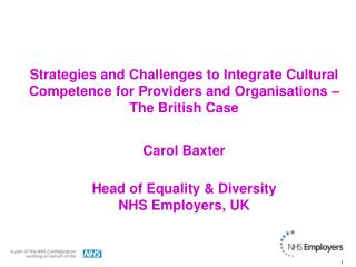 Strategies and Challenges to Integrate Cultural Competence for Providers and Organisations   The British Case  Carol Bax