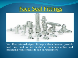 Tube Fittings, Face Seal Fittins, Mini Weld Fittings