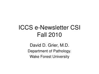 ICCS e-Newsletter CSI  Fall 2010