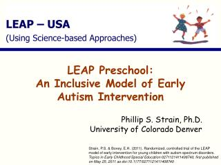 LEAP Preschool: An Inclusive Model of Early Autism Intervention