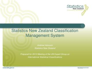Statistics New Zealand Classification Management System