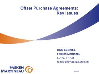 Offset Purchase Agreements: Key Issues