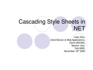 Cascading Style Sheets in