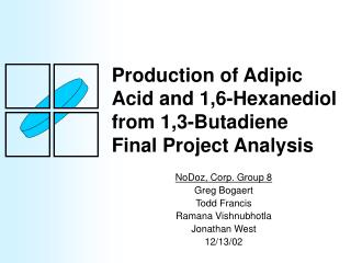 Production of Adipic Acid and 1,6-Hexanediol from 1,3-Butadiene Final Project Analysis