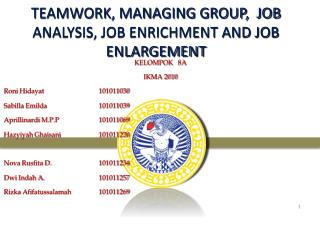 TEAMWORK, MANAGING GROUP,  JOB ANALYSIS, JOB ENRICHMENT AND JOB ENLARGEMENT