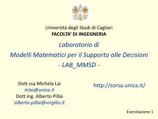 Universit  degli Studi di Cagliari FACOLTA  DI INGEGNERIA