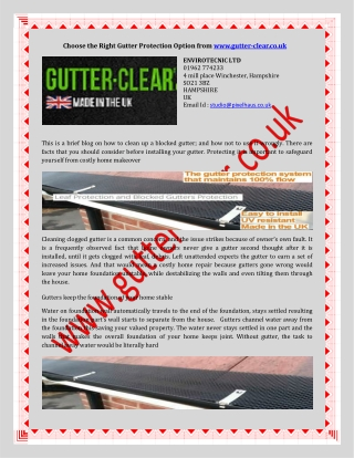 Choose the Right Gutter Protection Option from www.gutter-cl