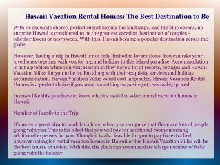 Hawaii Vacation Rental Homes: The Best Destination to Be