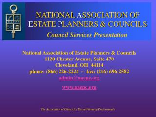 NATIONAL ASSOCIATION OF ESTATE PLANNERS  COUNCILS