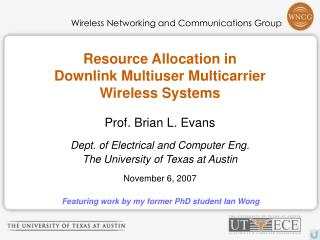 Resource Allocation in Downlink Multiuser Multicarrier Wireless Systems