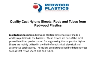 Quality Cast Nylon Sheets, Rods