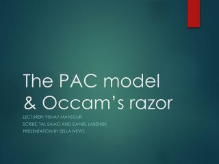 The PAC model  Occam s razor