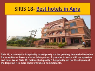 Siris18-Best hotels in agra