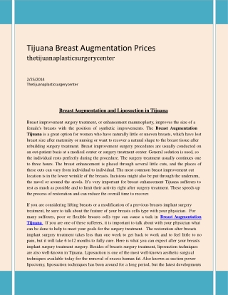 Tijuana Breast Augmentation Prices