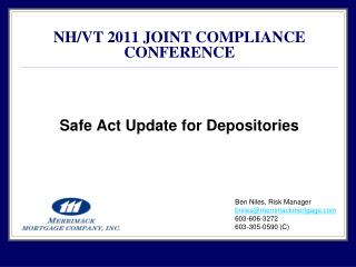 Safe Act Update for Depositories