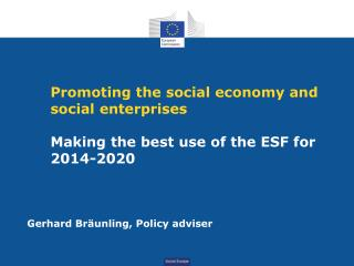 Promoting the social economy and social enterprises  Making the best use of the ESF for    2014-2020