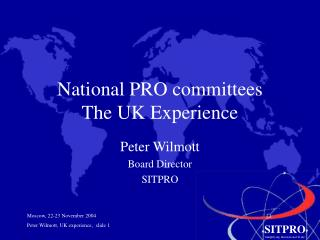 National PRO committees  The UK Experience