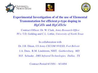 Experimental Investigation of of the use of Elemental Transmutation for efficient p-type doping in  HgCdTe and HgCdTeSe